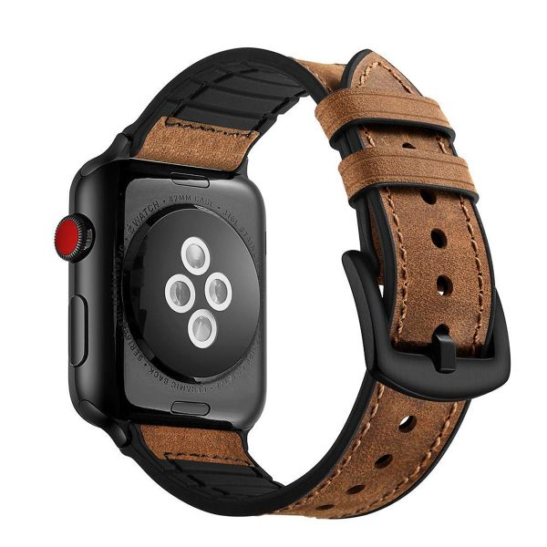 Cinturino AAAmaze Apple Watch in pelle e silicone Dark Brown