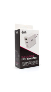 Travel Charger AAAmaze 30 Watt 1 porta USB 1 porta TYPE-C